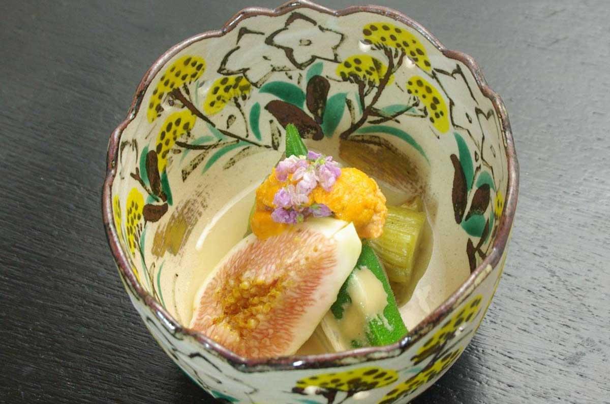 秋のレシピ:イチジクの胡麻クリーム掛け